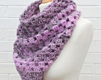 Pink and Heather Cowl, Crochet Chunky Winter Knit Cowl, Ladies Knitted Accessories, Chunky Snood, Handmade Multicolor Neckwarmer