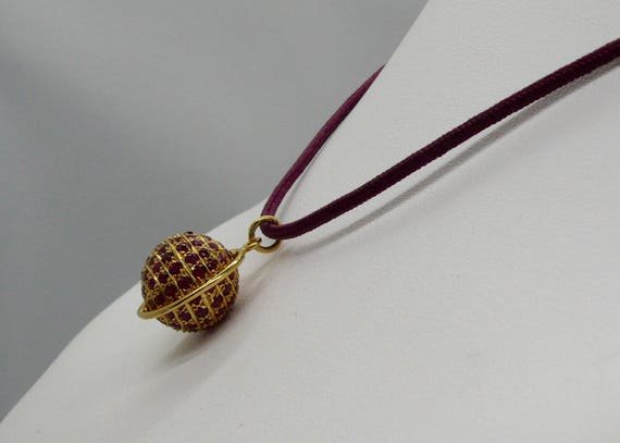 14K Yellow Gold and Ruby Globe Pendent
