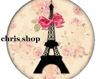 pretty cabochon 25mm, eiffel tower and knot Paris pink