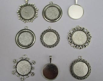 9 pendants for cabochons 25mm