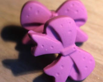 Purple polymer clay bow earrings / / Earrings Knots in purple fimo paste