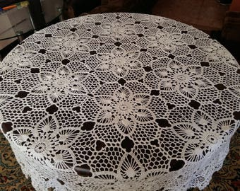handmade, tablecloth, crochet, openwork