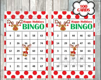 Printable 100 Rudolph Christmas Bingo Cards, printable Christmas Bingo game, Christmas printable bingo cards, instant download
