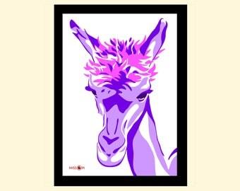 Animal Art, Wall Art, Art Print, Home Living, A4 Prints, Wall Decor, Modern and Contemporary, Animal Art Print, Pink, Purple