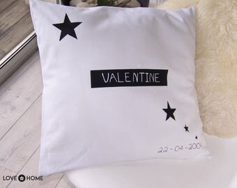 Cushion cover in white cotton with writing textile 50cmX50cm
