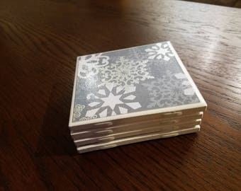 Gray Silver White Christmas or Winter Ceramic Drink Coasters