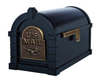 Mailbox Black with Antique Bronze Post-Mount
