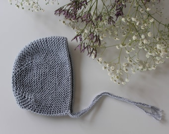 Wool bonnet for baby blue