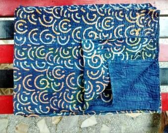 Reversible Indigo Handblock Print Vintage kantha Quilt Kantha Bed spread Cotton Kantha Throw