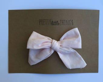 Light pink Cotton Bow - nylon headband or clip