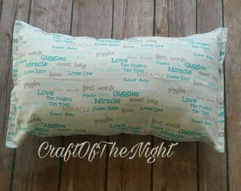 Baby Pillow / Decoration / baby shower gift / crib / bedding / keepsake / gift under 10 / baby's first