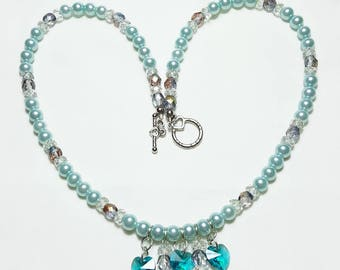 Teal Crystal Hearts and Pearls Bridal Wedding Necklace