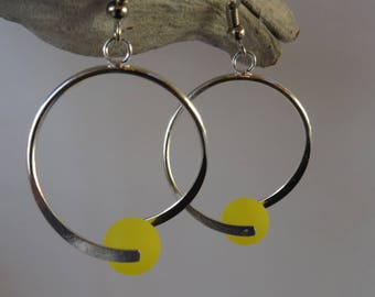 Brooch yellow polaris bead earrings / wedding / party / birthday