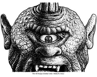 """Berhart - Portrait of the Cyclops in the movie """"The 7th voyage of Sinbad"""" - """"fantastic film icons"""""""