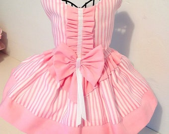 Dog or Cat Dress Baby Pink and White Candy Strips Dress