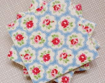 Handmade Set Of 4 Ceramic Coasters Cath Kidston Provence Rose Drinks Mats Home Decor Housewarming Gift Christmas Present Shabby Chic