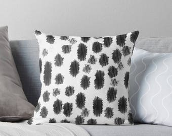 Black and White Abstract Paint Stroke Throw Pillow|Abstract|Paint|Brushstrokes|Interior|Homeware|Black|White