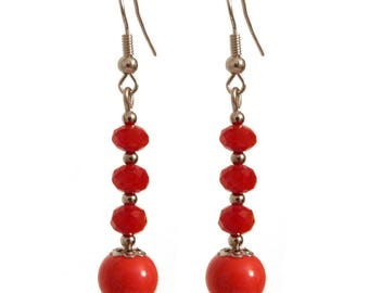 chic earrings classic porcelain beads and faceted red (orange red)
