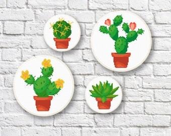 Set of 4 Cactus Cross Stitch Pattern, Succulent Pattern, Potted Plant Cross Stitch, Cactus PDF Pattern, Modern Cross Stitch Gift #oth020