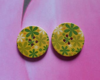 Set of 2 buttons wood 30 mm Green flowers