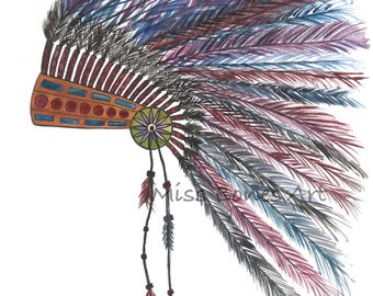 Tribe, Original Art (watercolor, Cocar, tribe, feathers, headdress, feathers, tribe)