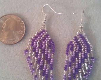 Purple Shades slanted dangle earrings