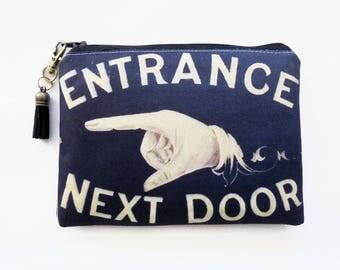 Canvas Pouch, Retro door sign, vintage branding, shop sign.