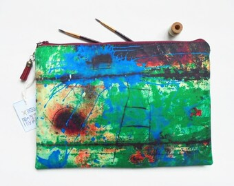 Gifts for her, Rusty art print, durable bag, travel bag, cosmetic bag, zip bag, make up bag, cosmetic pouch, wash bag, toiletries pouch.