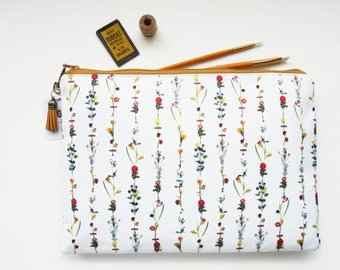 9.7 iPad floral sleeve,botanical,flower stems,travel bag, cosmetic bag, zip bag, make up bag, cosmetic pouch,wash bag,floral bag.