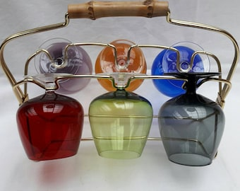 Set colored 50s 60s 6 colored/coloured glasses in the rockabilly vintage Cognac 6 / colorful glasses in the stand