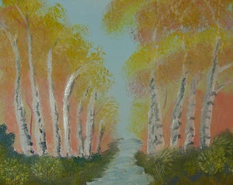 Oil Painting No: 031- Birch Stream.