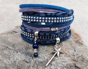 cuff double Navy and indigo blue with silver metal charms