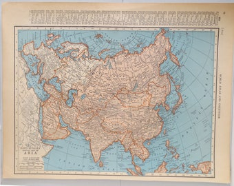 Vintage Map of Asia - Vintage Map of Eastern Europe on Reverse Side - Classroom Decor - Wall Decor - Living Room Decor - Antique Map