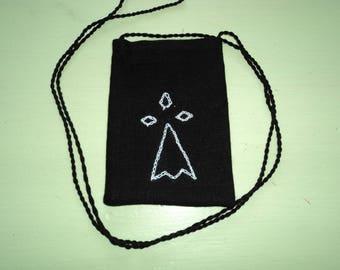 Small black shoulder bag hand embroidered textile