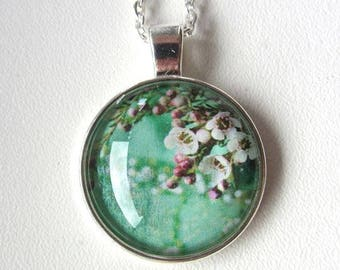 Handmade mint necklace with apple tree blossom, custom earrings, custom jewelry,  personalized gift