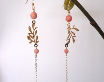 Long gold - plated leaf earrings filigree & coral