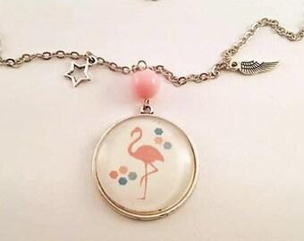 "Cabochon-> ""Flamand Rose"" pendant necklace"
