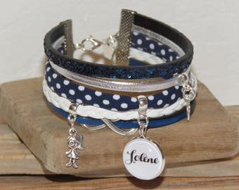 Personalized Bracelet with the name of your choice, leather, bias peas, suede, Navy Blue, white and silver