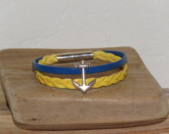 Anchor bracelet, boy, yellow and bright blue, braided leather and magnetic clasp