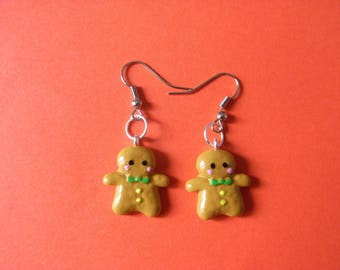 POLYMER CLAY GINGERBREAD MAN EARRINGS