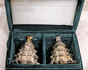 Vintage Godinger Silver Plated Christmas Tree Salt and Pepper Shakers In Box