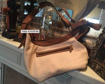 Creme and tan handbag