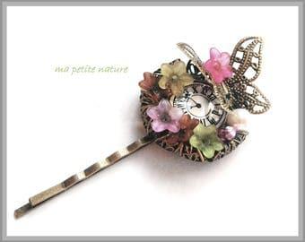 flower clock Butterfly hair clip