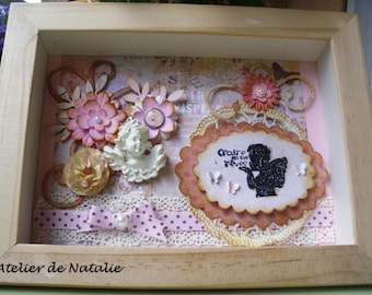 Frame Vintage window with Angel, flowers and lace