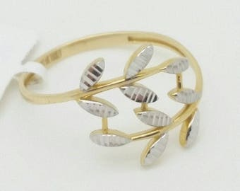 14k Yellow Gold Diamond Cut Leaf Design Band Ring Size 7