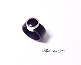 Black leather and Swarovski Micio by ACE ring