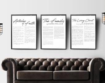 Family Proclamation, LDS Print, LDS Art, LDS Printable, The Living Christ, Lds Decor, Mormon Print, Articles of Faith, lds temple