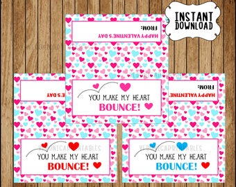 You Make My Heart Bounce Bouncy Ball Valentine Printable in