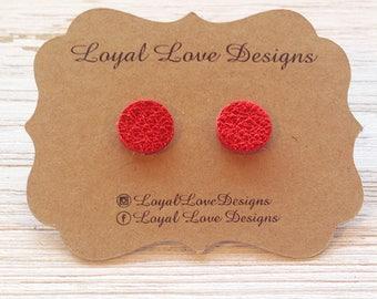 Red Leather Studs, Leather Earrings, Stud Earrings, Statement Earrings, Boho