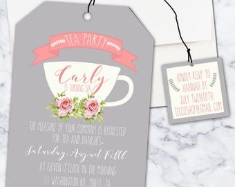 Tea Birthday Party Invitation, 5x7, Girl, Digital Download, Shaped as a Tea Bag